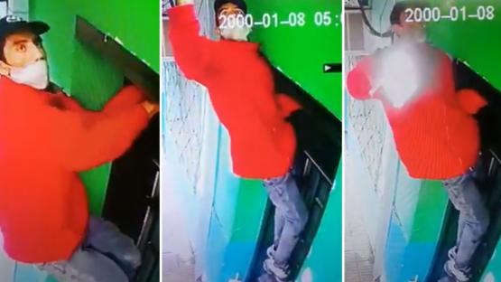 Video: ¡Robó un portalámparas a pesar de que estaba prendido!